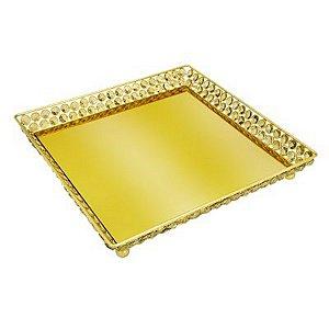 Bandeja Quadrada Dourada 33 Cm