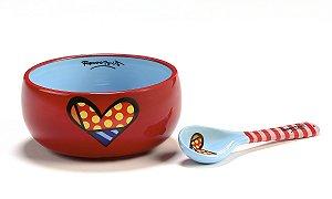 Romero Britto Bowl Cerâmica c/ Colher Heart