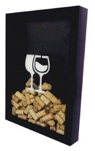 Quadro Rolhas Grande c/ Moldura Preta Taças de Vinho