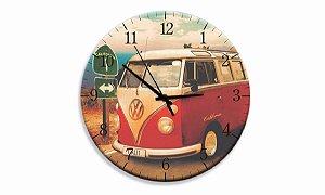 Relógio Parede Kombi Vermelha