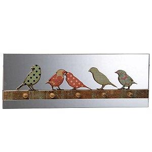 Porta Chaves Pássaros Verde e Rosa Verona