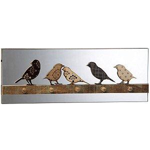 Porta Chaves Pássaros Bege e Marrom Verona