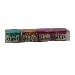 Conjunto Porta Velas Colorido 4 Peças