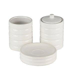 Jogo p/ banheiro c/ 03 peças em cerâmica branca