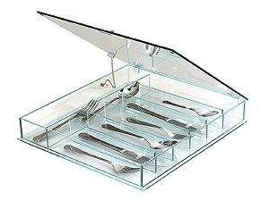 Porta Talheres de Vidro Fundo Cristal