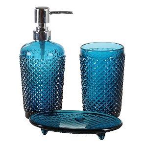 Kit p/ Banheiro Bico de Jaca Azul