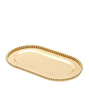 Bandeja oval dourado Balls