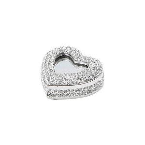 Porta jóias c/ tampa epelhada coração 6cm