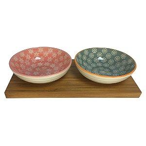 Petisqueira de Bambu c/ 02 bowls