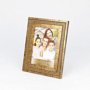 Porta retrato strass dourado 13x18cm