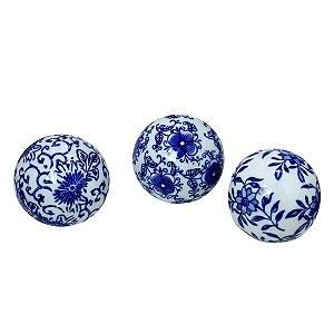 Conjunto com 03 Bolas Azul e Branco I