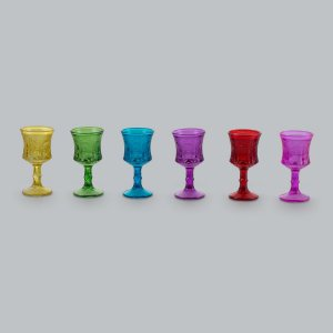 Jogo 6 taças esculpidas coloridas 30ml