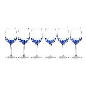 Jogo 6 taças p/ vinho azul 360ml