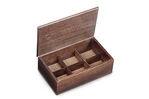 Caixa para chá em madeira 28,5cm