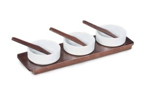 Porta 3 cumbucas porcelana 39cm
