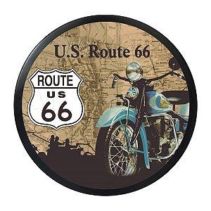 Quadro redondo Route 66 luminoso