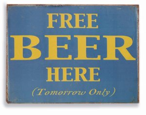 Placa Free Beer Here P