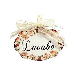 Placa Lavabo Floral