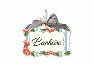 Placa Banheiro Floral