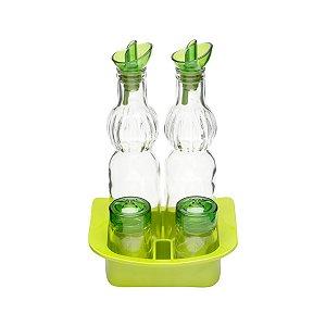 Conjunto galheteiro verde - 5 peças