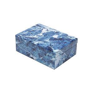 Porta jóias Mármore azul e branco 24,5cm
