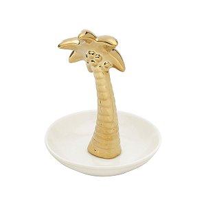 Porta jóias coqueiro dourado 13cm