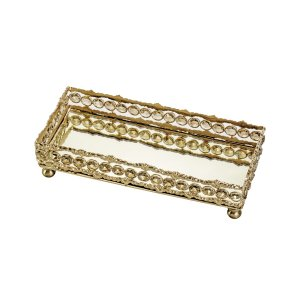 Bandeja c/ cristais e espelho dourado