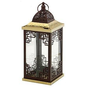 Lanterna Marrom e Dourado 37cm