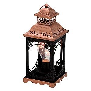 Lanterna Decorativa Cobre e Preto 28cm