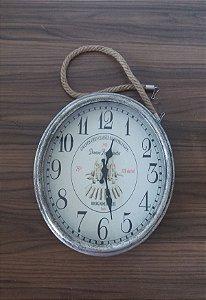 Relógio de Parede Metálico c/ Corda Prata