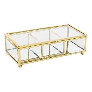Porta Jóias Transparente e Dourado
