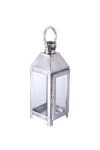 Lanterna Decorativa Metal e Vidro 27cm