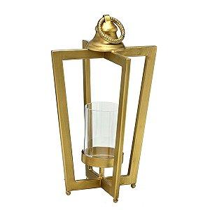 Lanterna Metal Dourada 37cm