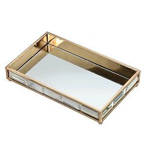 Bandeja Dourada c/ Base Espelho