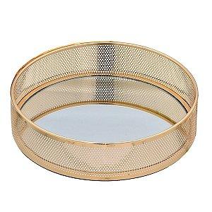 Bandeja Espelhada Decorativa Dourada 22cm