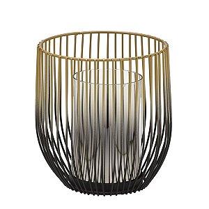 Candelabro Decorativo Preto c/ Dourado 17cm