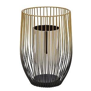 Candelabro Decorativo Preto c/ Dourado 26cm
