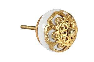 Puxador p/ Porta Cerâmica Branco c/ Dourado