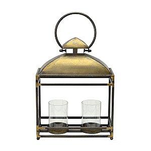 Lanterna Decorativa Metal Dourado 39cm