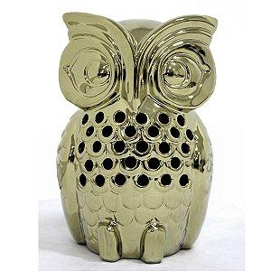 Coruja Decorativa em Cerâmica Dourada