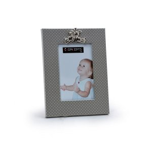 Porta Retrato Branco com Poá Cinza
