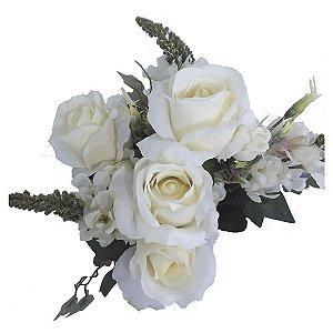 Buquê de Rosas Brancas c/ Boca de Leão