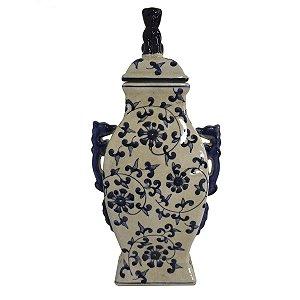 Pote Decorativo Cerâmica Azul Floral
