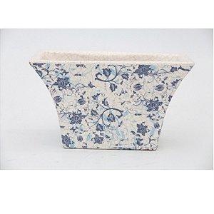 Cachepot de Cerâmica Craquelado Flores Azuis Retangular