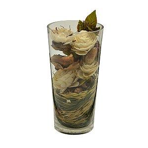 Vaso decorativo c/ flores secas