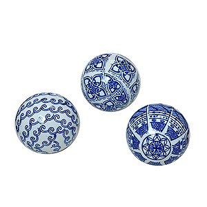 Conjunto 03 Bolas Azul e Branco I