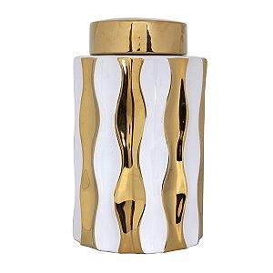 Pote c/ tampa dourado e branco 24cm