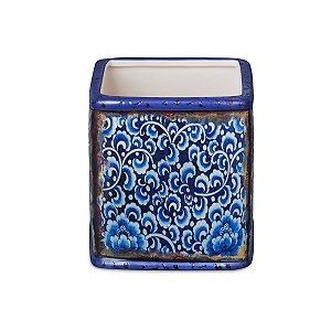 Mini Cachepot Azul e Branco 01