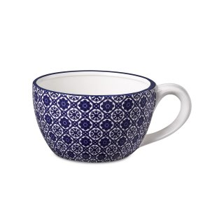 Cachepot Xícara Azul e Branco