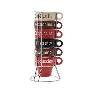 Conjunto 6 xícaras de café names